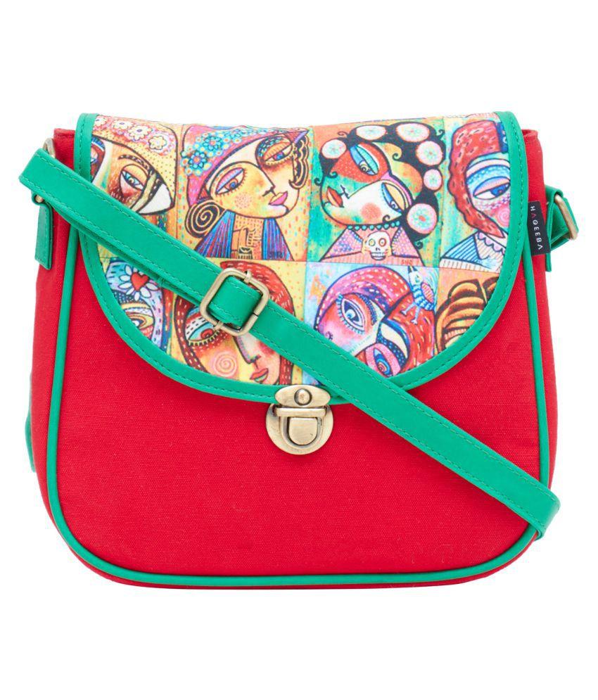 Haqeeba Red Canvas Sling Bag