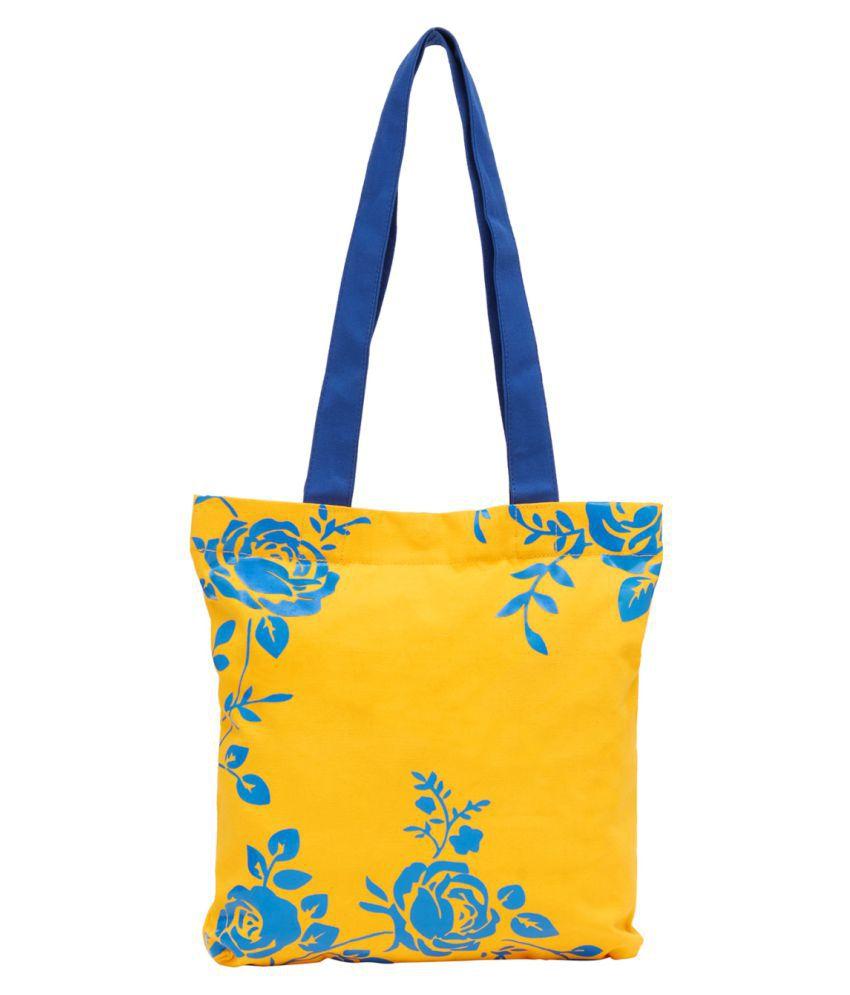 Haqeeba Yellow Canvas Tote Bag