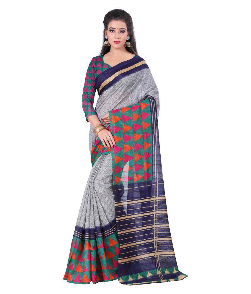 Mannequin Store Grey Bhagalpuri Silk Saree
