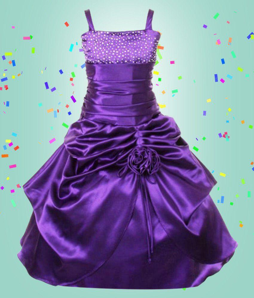 Pink Wings Girls Party Wear Purple Dress - Buy Pink Wings Girls ...