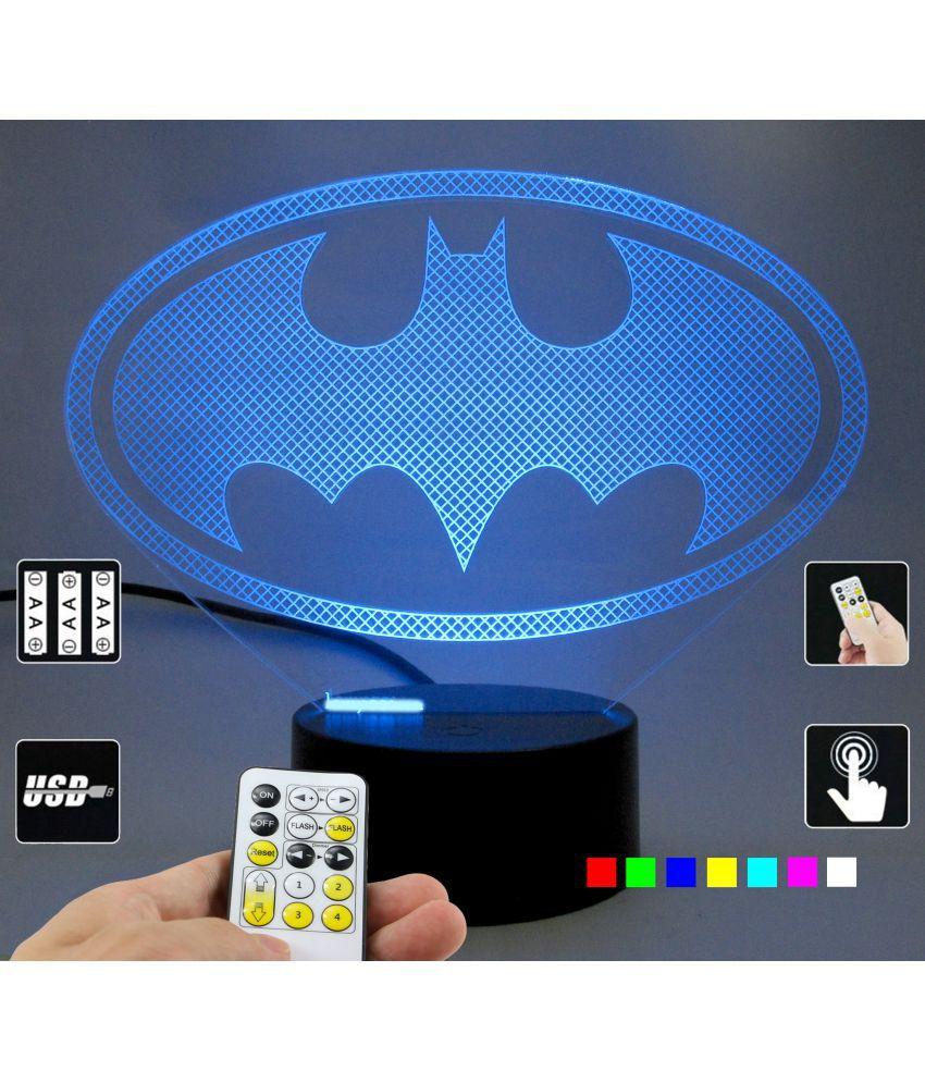 Varna Crafts Lampees 3D Illusion Batman Logo Led Night Lamp Multi - Pack of 1