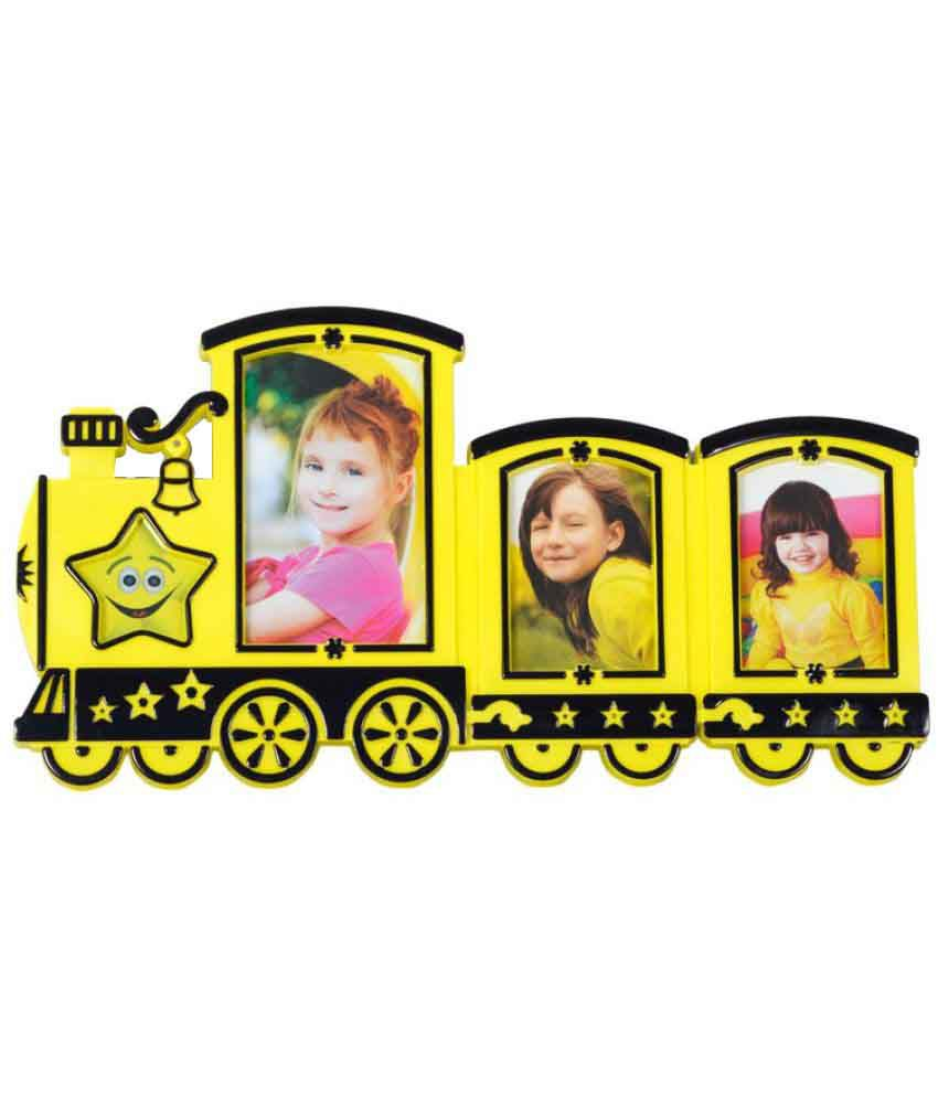 Archies Collage Frames Plastic Wall Hanging Yellow Collage Photo Frame - Pack of 1