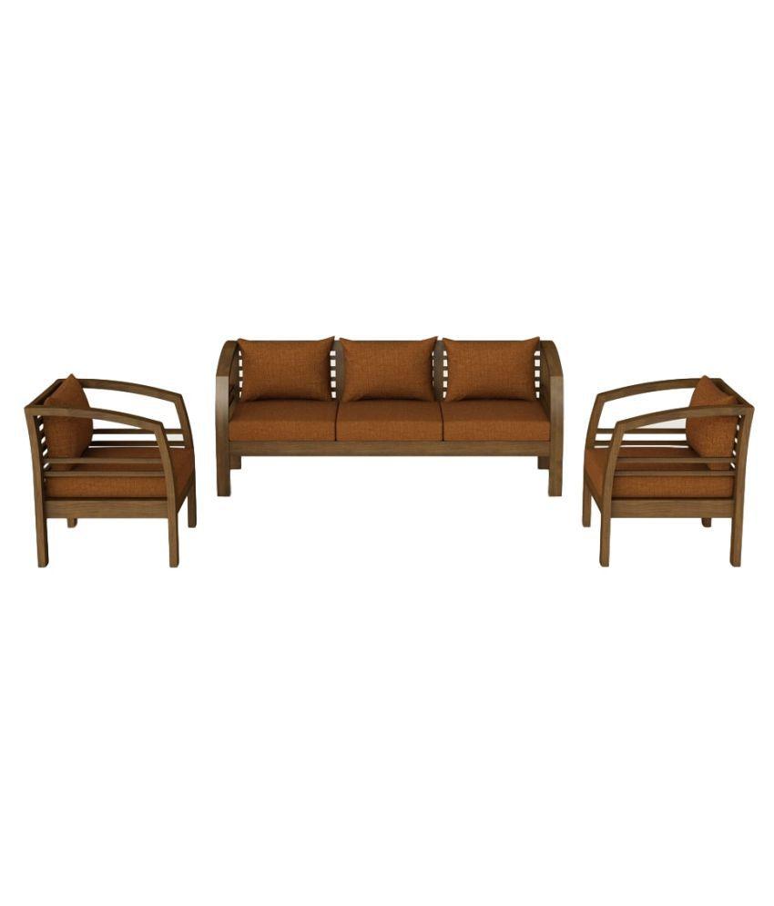 Surprising Bolton Solid Teak Wood 5 Seater Sofa Set In Walnut Finish Customarchery Wood Chair Design Ideas Customarcherynet