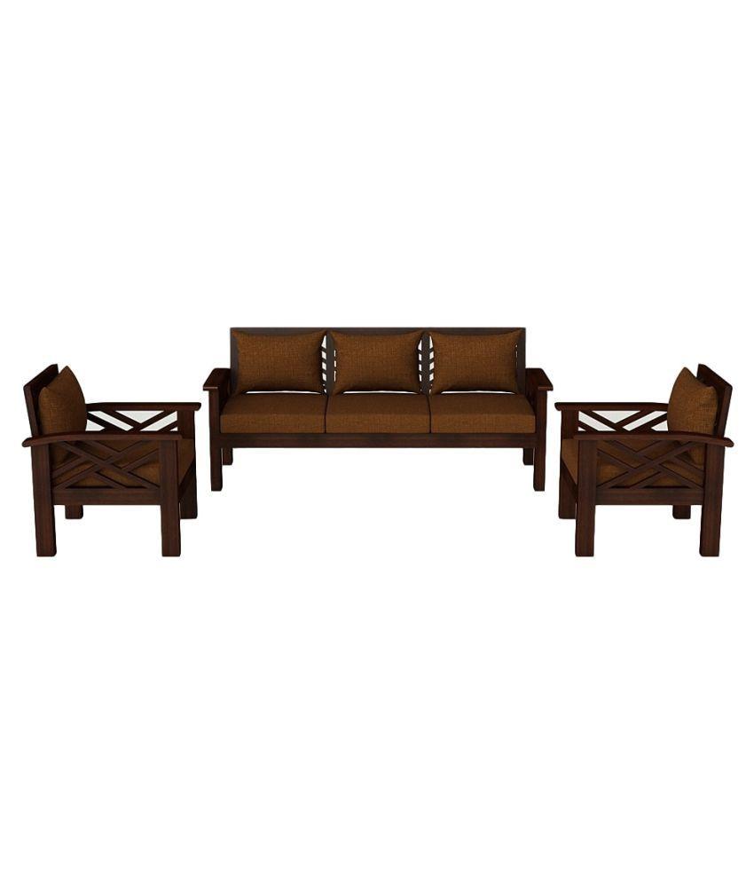 Swell Denver Solid Teak Wood 5 Seater Sofa Set In Mahogany Finish Customarchery Wood Chair Design Ideas Customarcherynet