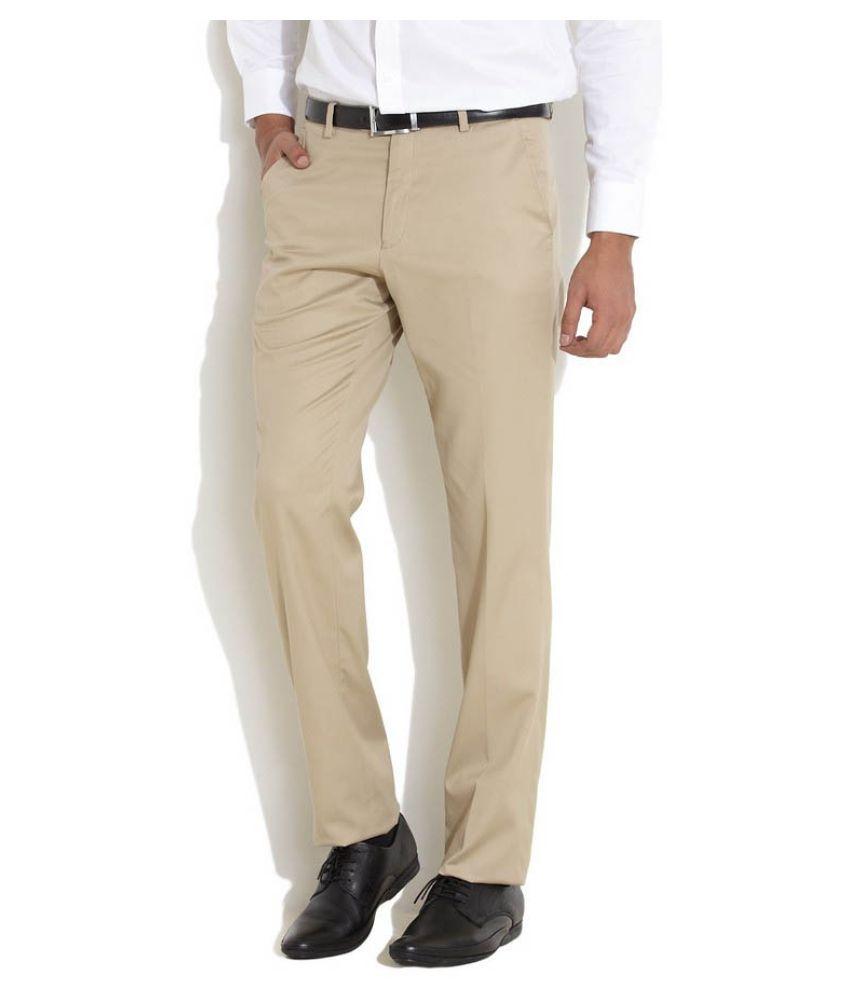 AD & AV Beige Regular Flat Trousers