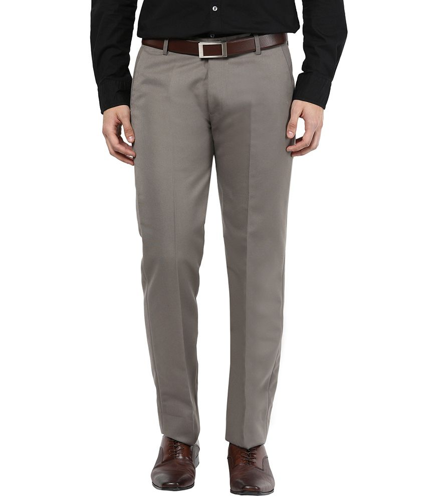 Bukkl Grey Slim Flat Trousers