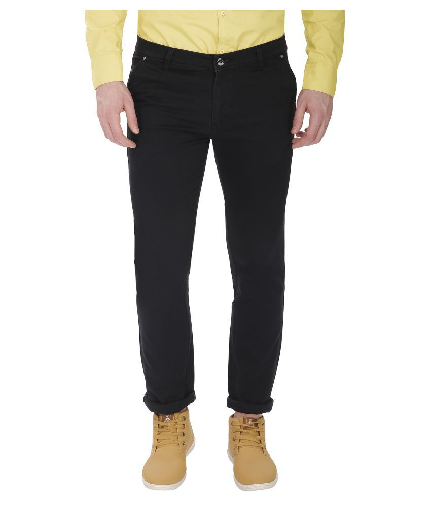 Gradely Black Slim Flat Chinos