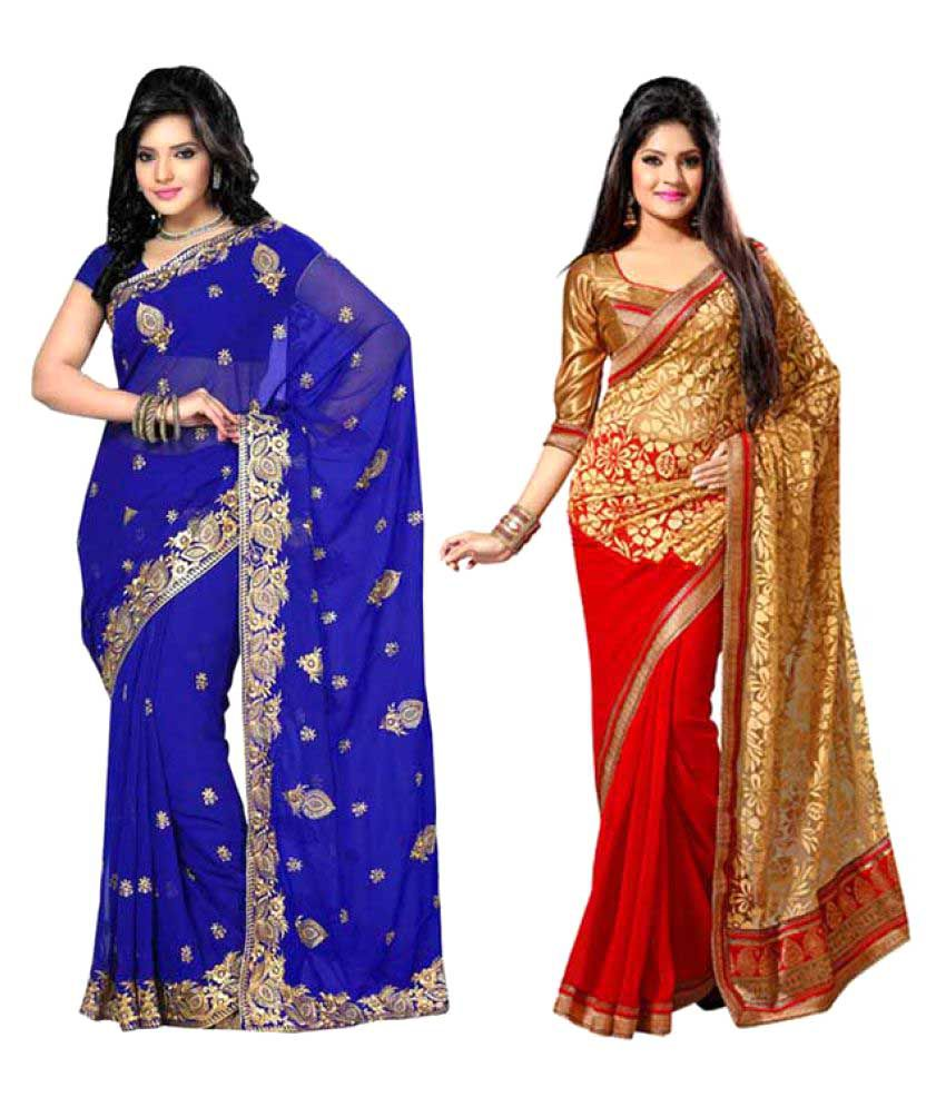 Momai Enterprise Multicoloured Georgette Saree Combos