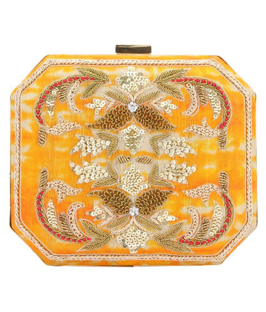 D'oro Yellow Silk Box Clutch