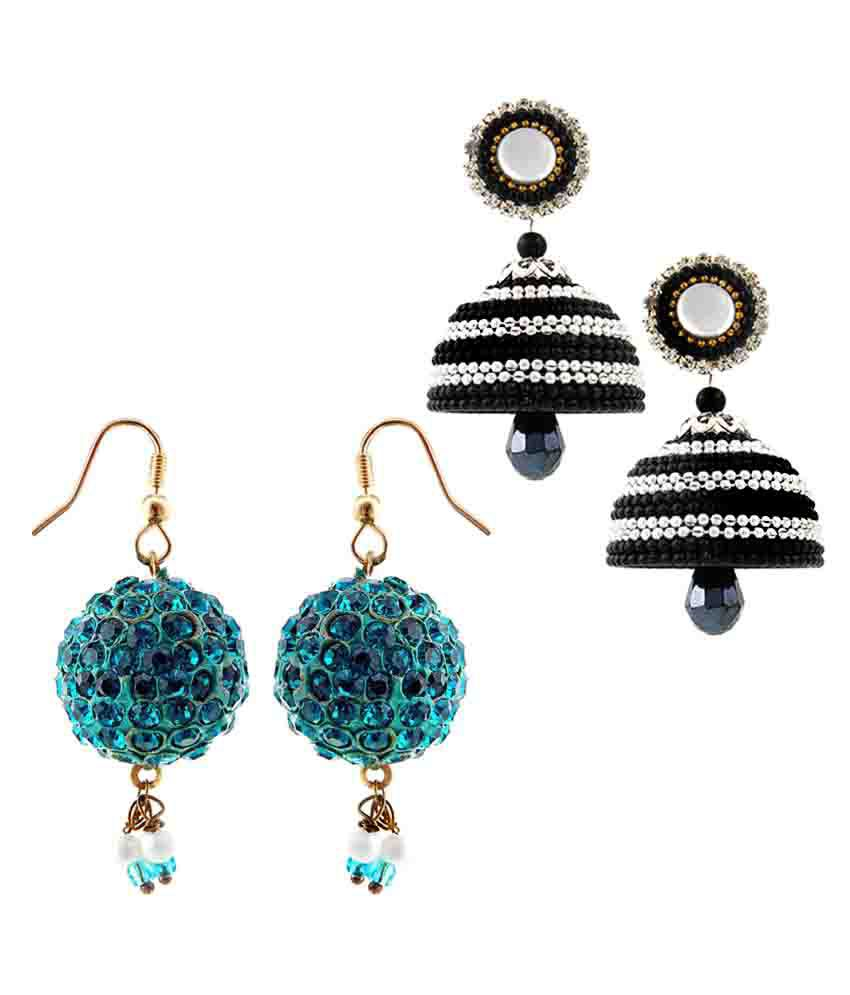 Halowishes Multicolor Brass Earrings - Pair of 2