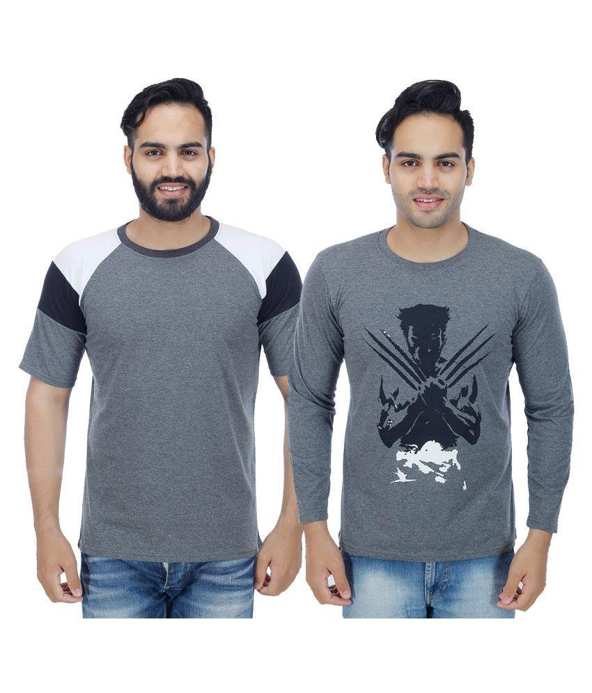 Rakshita's Collection Grey Round T-Shirt Pack of 2