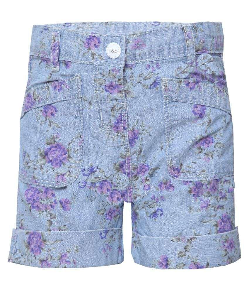 Tales & Stories Girls Floral Print Denim Shorts