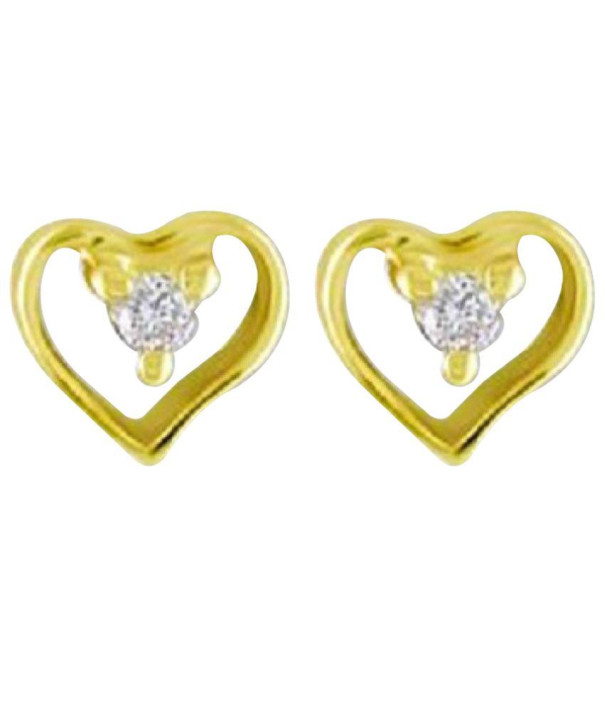 Sheetal Impex 14k BIS Hallmarked Yellow Gold Diamond Studs