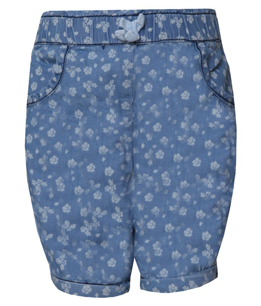Tales & Stories Blue Floral Print Hot Pants
