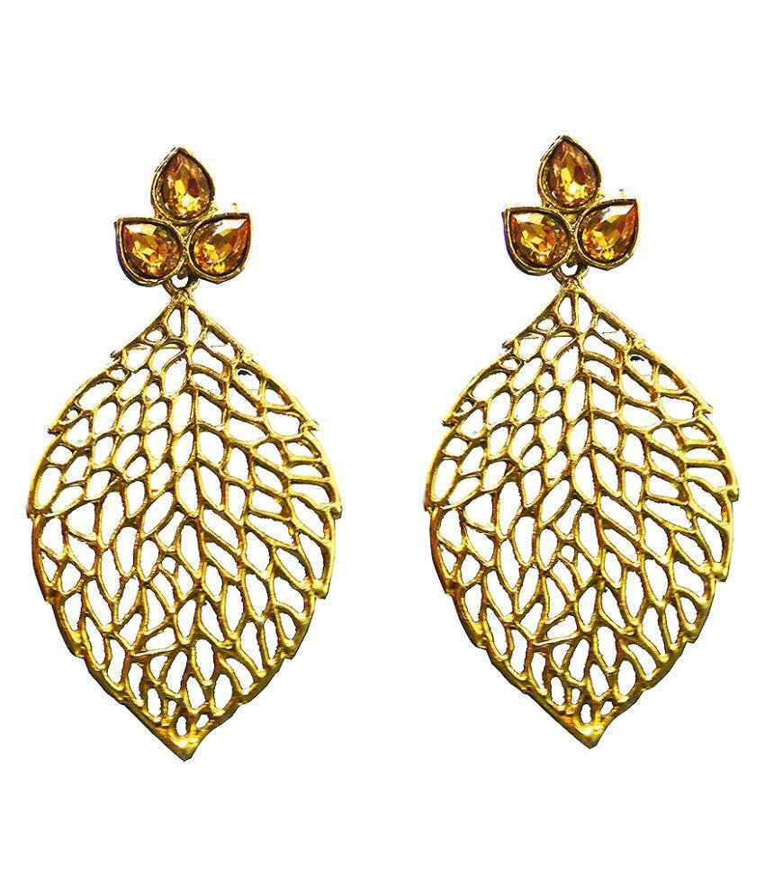 Al Marjaan Jewels Golden Leaf Design Hanging Earrings