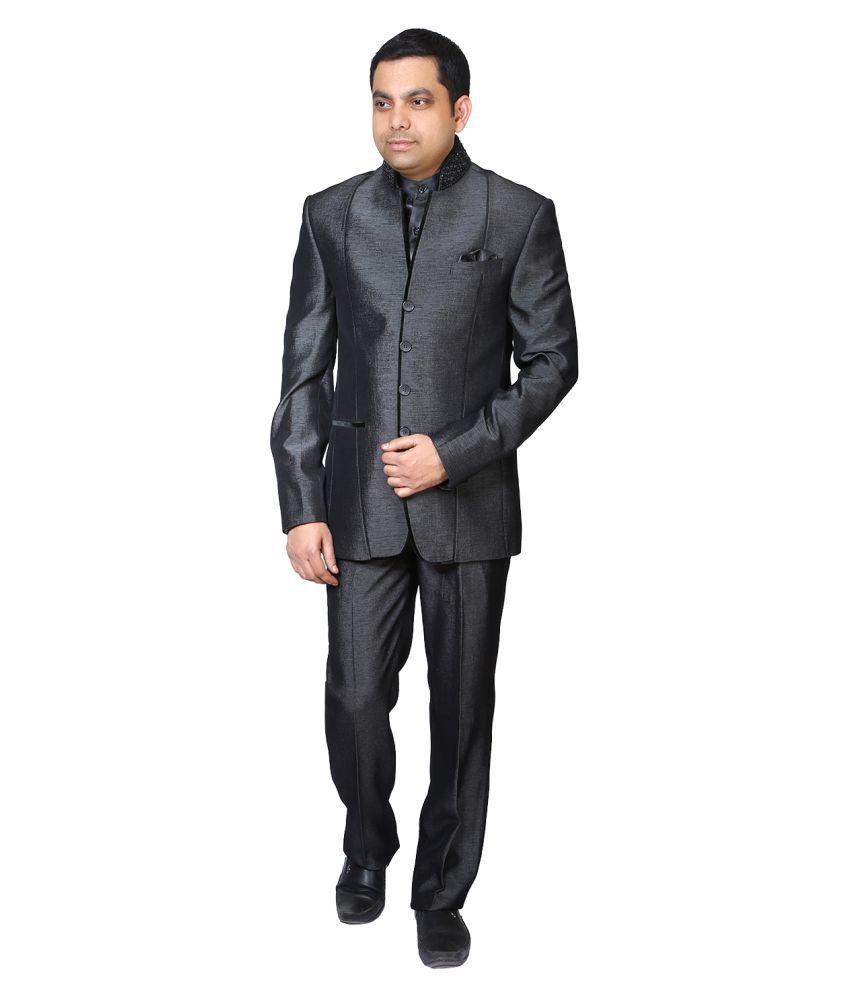 Bindals Grey Plain Party Suit