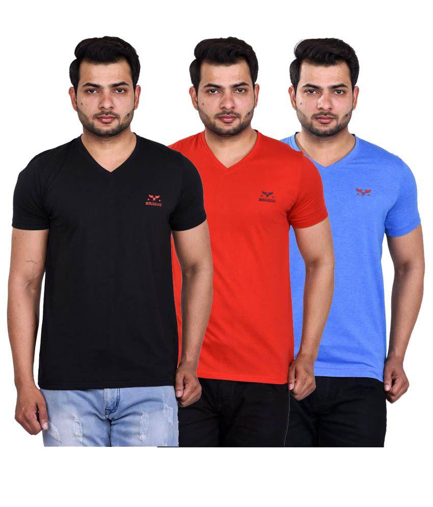 Broche Multi V-Neck T-Shirt Pack of 3