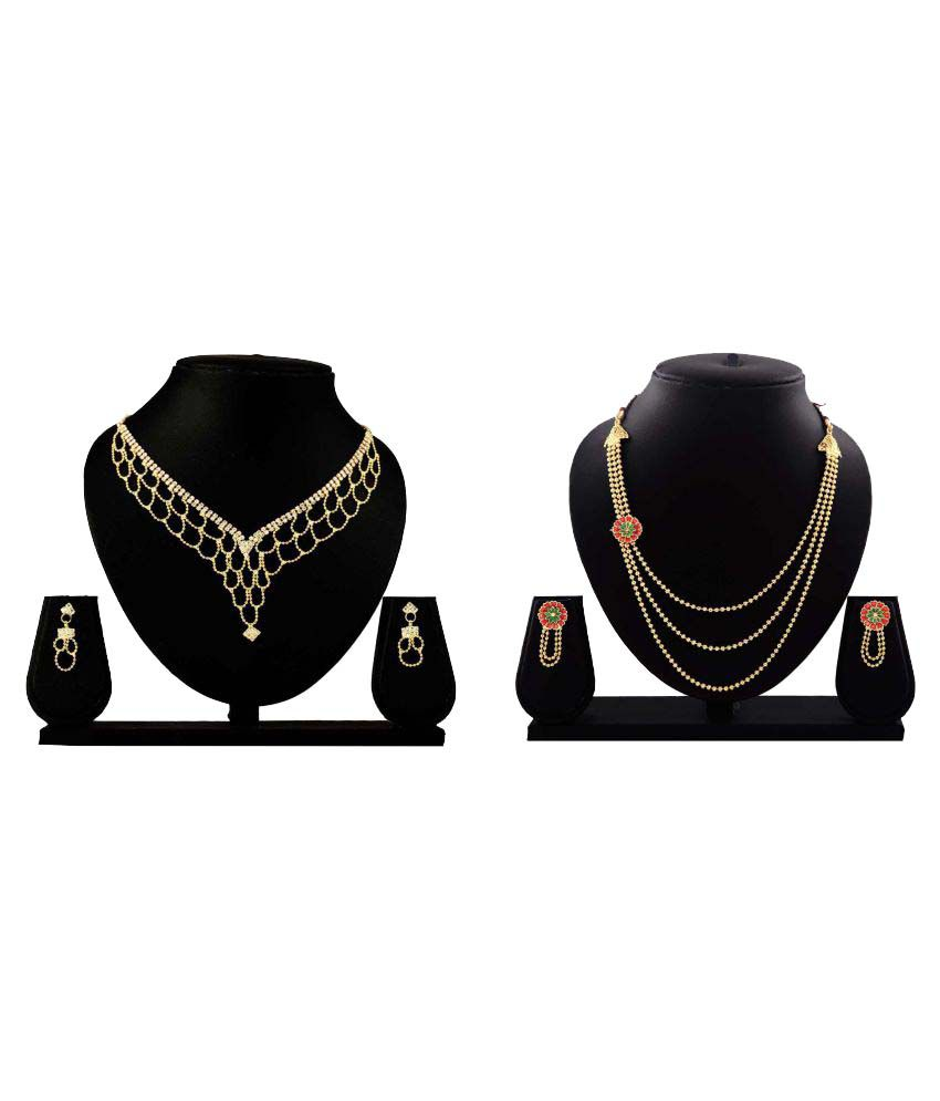 Dealseven Fashion Golden Alloy Necklace Set Combo - Pack of 2