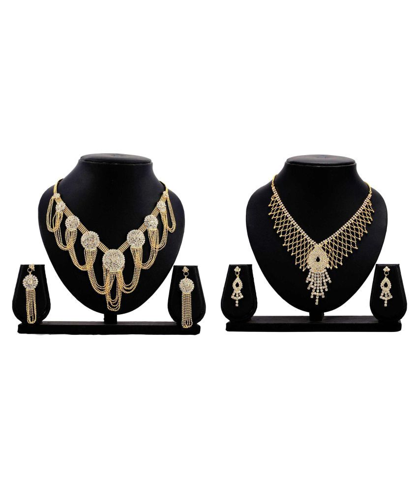 Gopalvilla Present Golden Alloy Necklace Set Combo