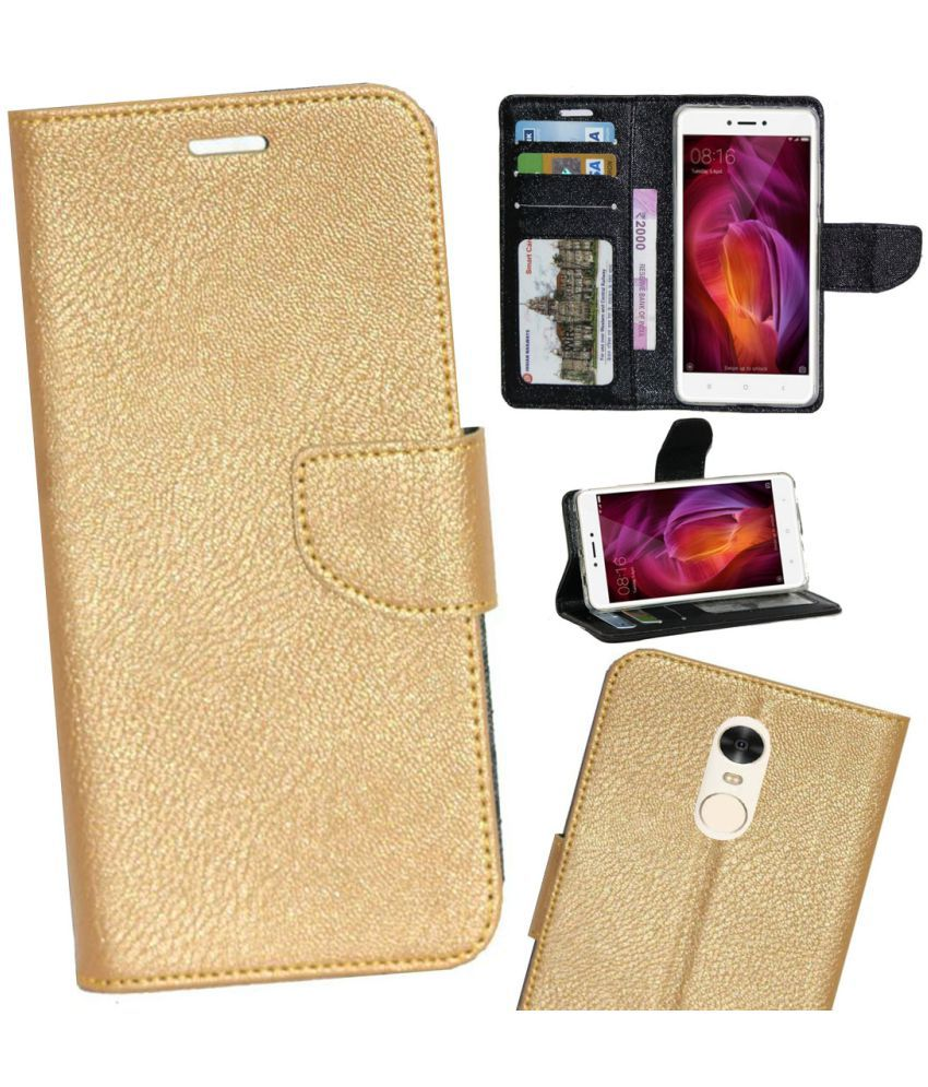 new product 84e14 2a153 Xiaomi Redmi Note 4 Flip Cover by Gizmofreaks - Golden