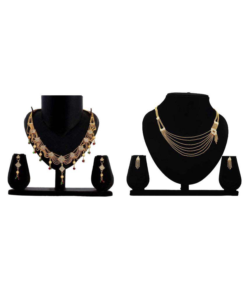 Gopalvilla Presents Golden Alloy Necklace set Combo