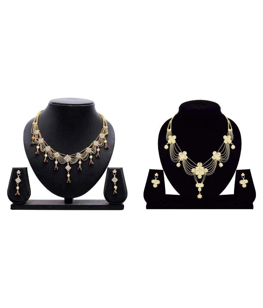 Gopalvilla Fashion Presents Golden Alloy Combo Necklace Set