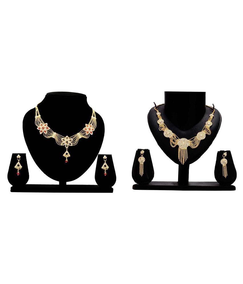 Gopalvilla Golden Alloy Combo Necklace Set