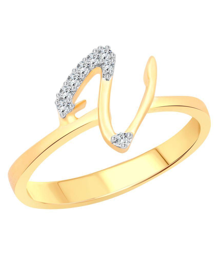 Vighnaharta Initial ''V'' Letter (CZ) Gold Plated Ring for Women