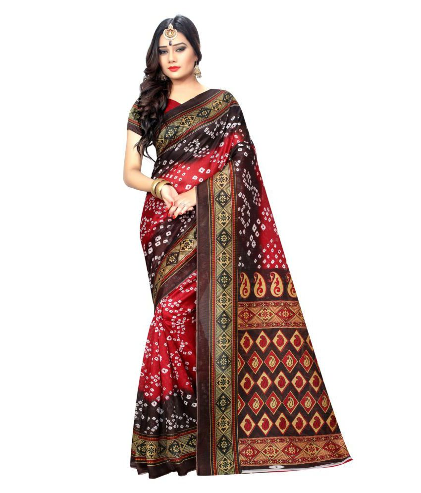 Zypara Red and Brown Bangalore Silk Saree