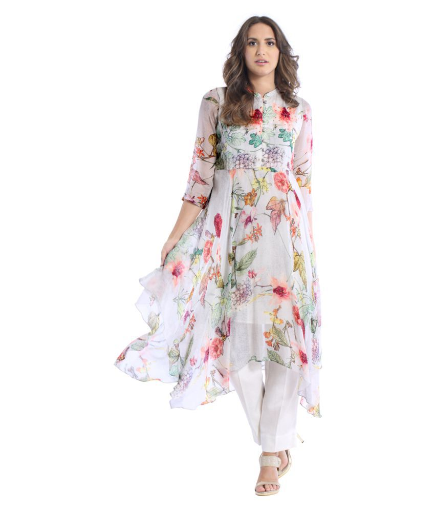 ffa0cbe72f Basil Leaf Multicoloured Chiffon Asymmetrical Hemline Kurti - Buy Basil  Leaf Multicoloured Chiffon Asymmetrical Hemline Kurti Online at Best Prices  in India ...