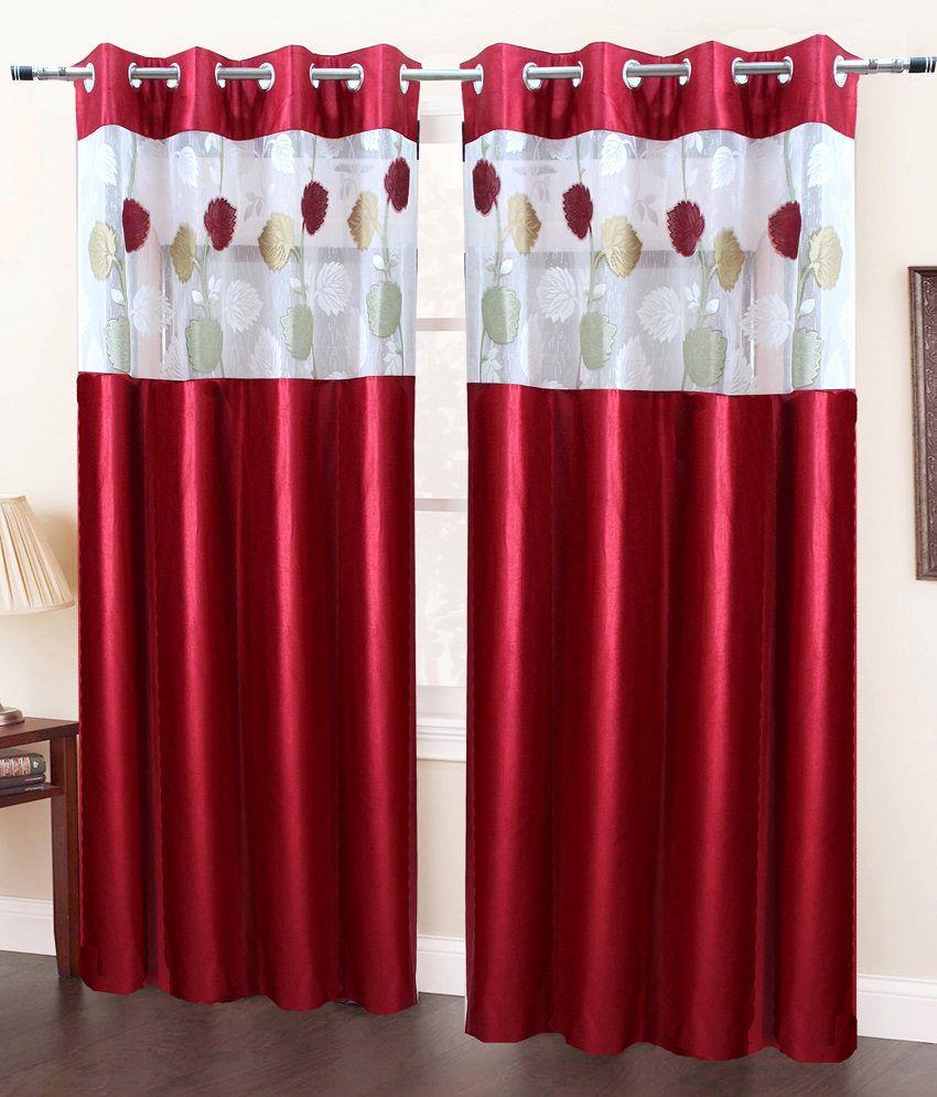 Homefab India Set of 2 Door Eyelet Curtains Floral Maroon