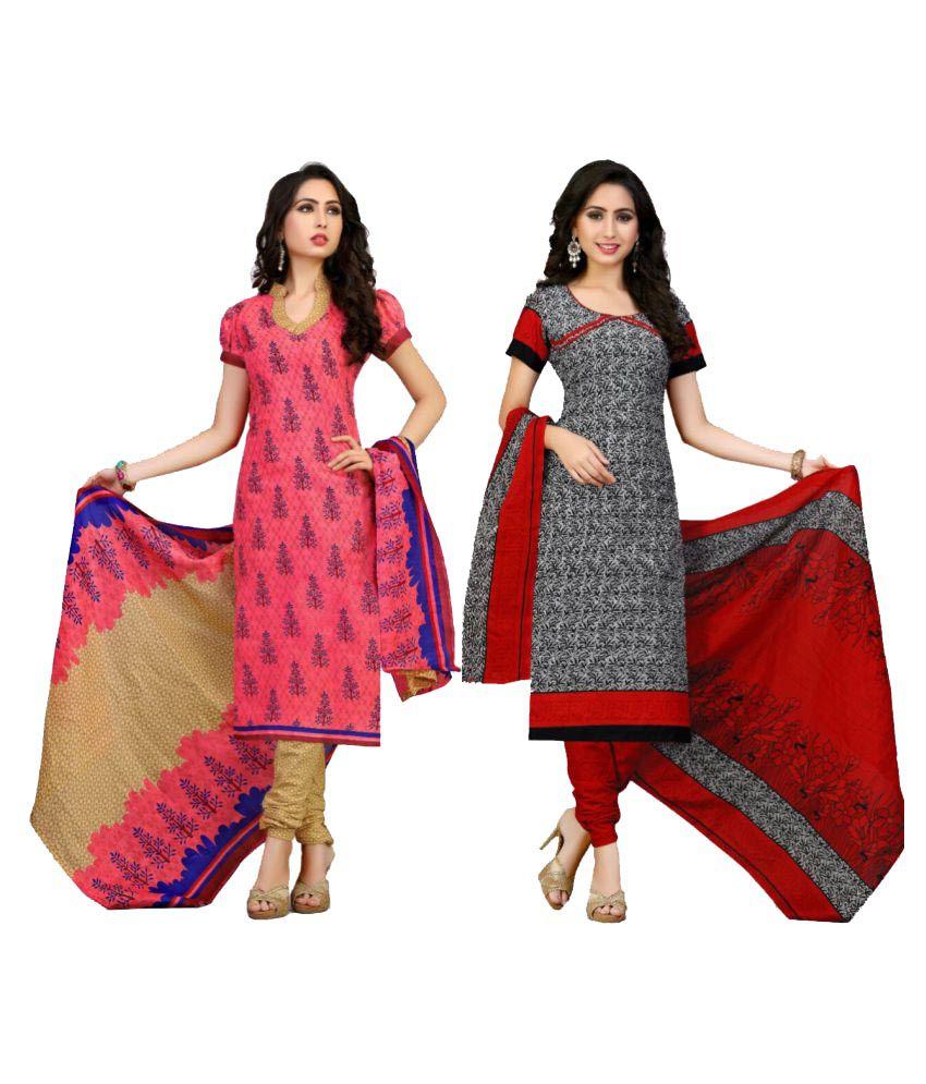 GVS Multicoloured Cotton Dress Material