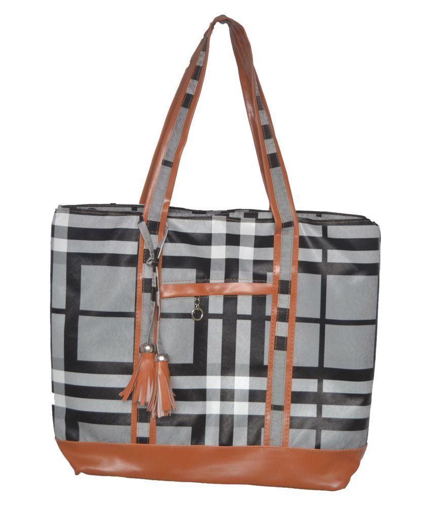 Sk Noor Enterprises Gray Faux Leather Shoulder Bag