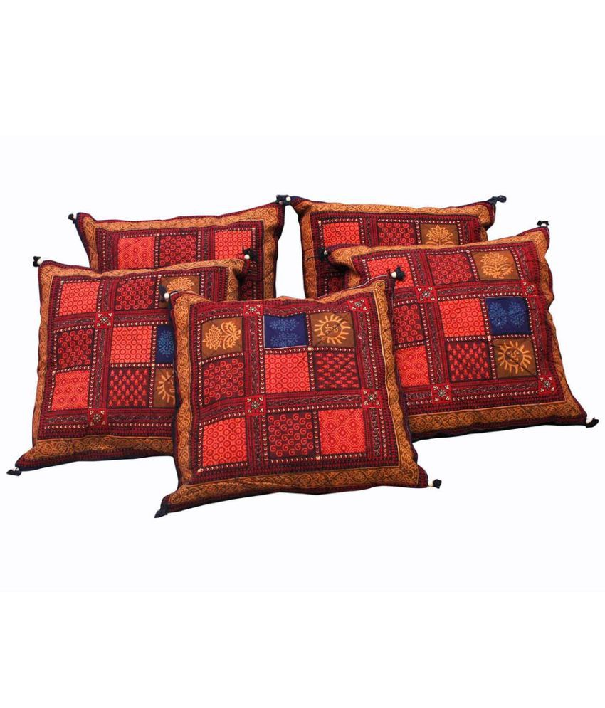 Indian Sparrows Set of 5 Cotton Cushion Covers 40X40 cm (16X16)