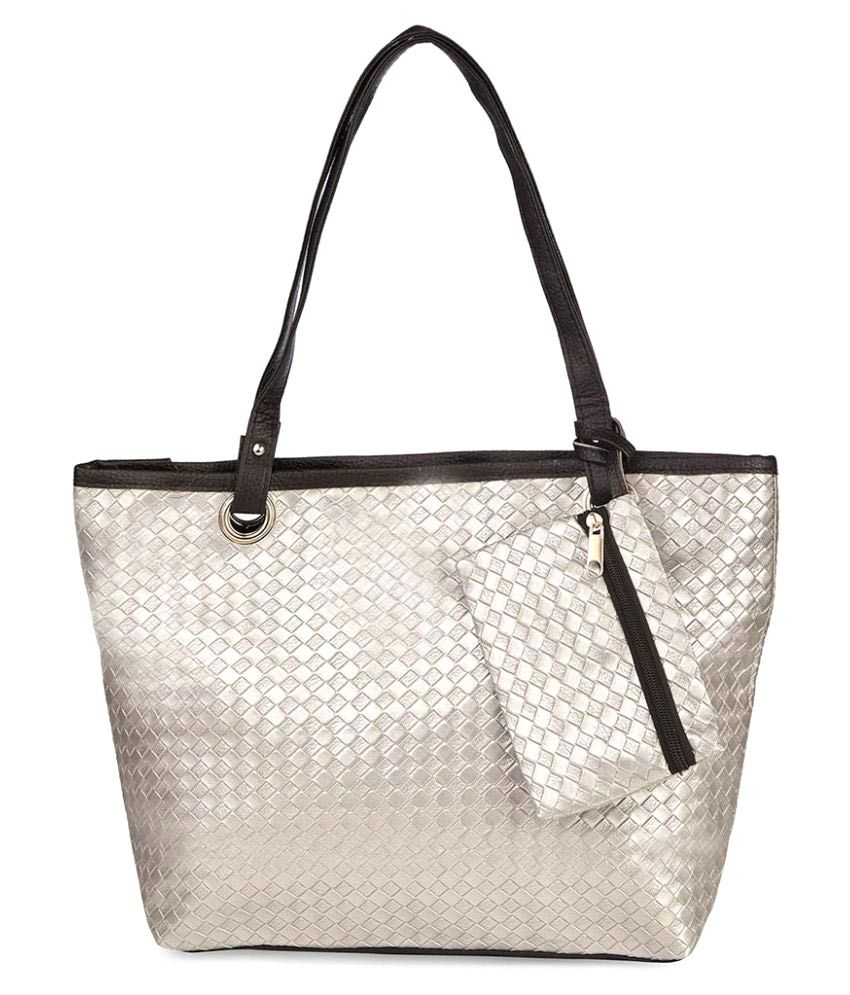 Vero Couture Silver P.U. Shoulder Bag