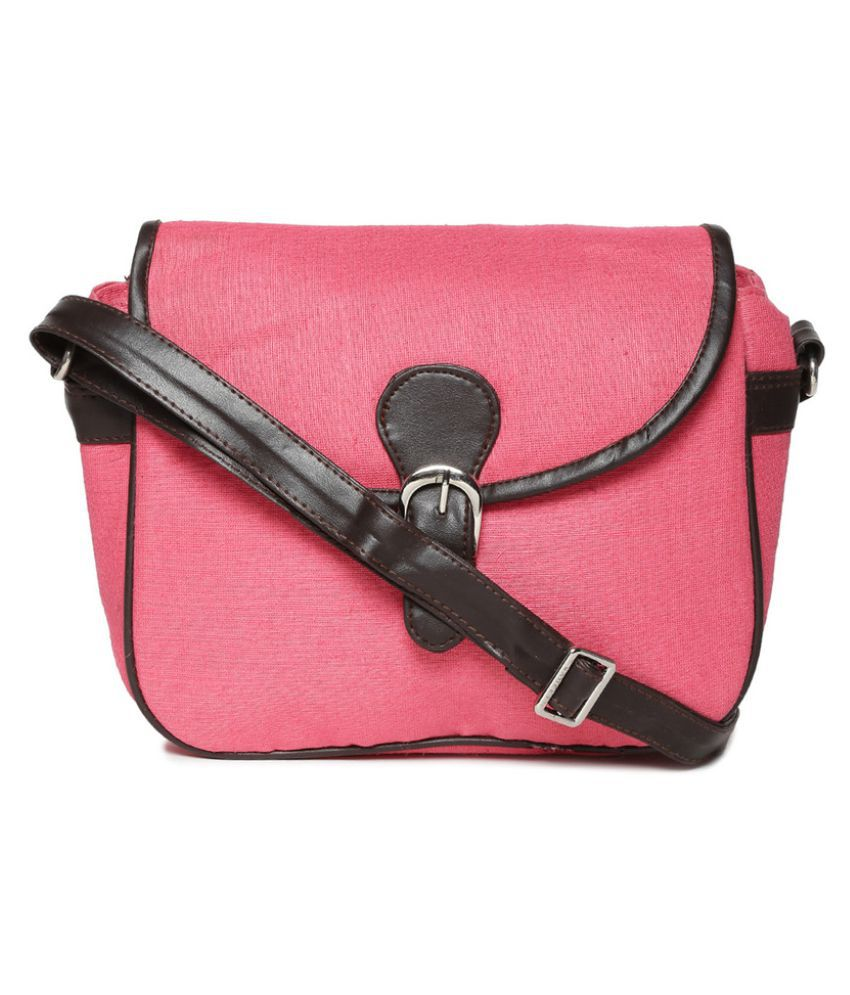 Campus Sutra Pink Canvas Casual Messenger Bag