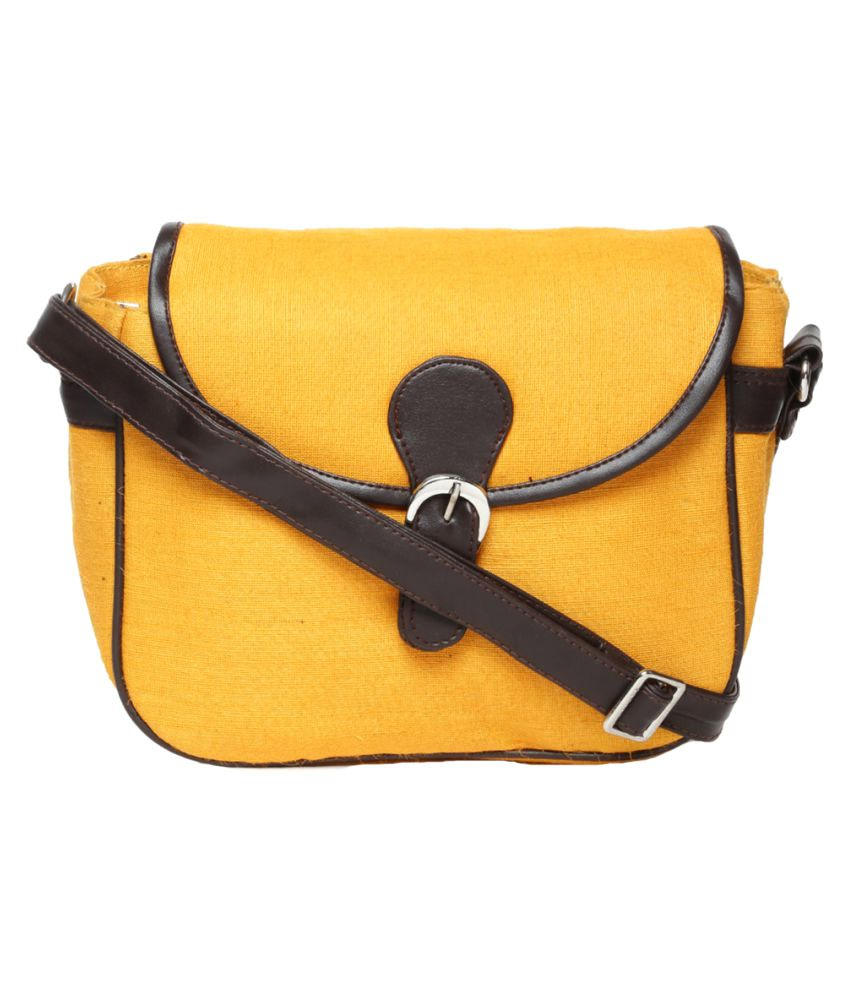 Campus Sutra Yellow Canvas Casual Messenger Bag