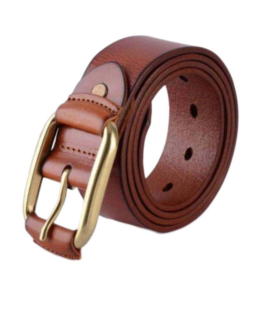 M D Creation Brown PU Formal Belts