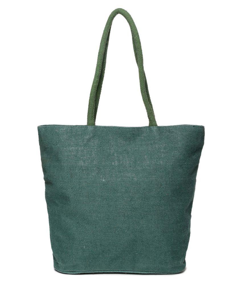 Campus Sutra Green Jute Tote Bag
