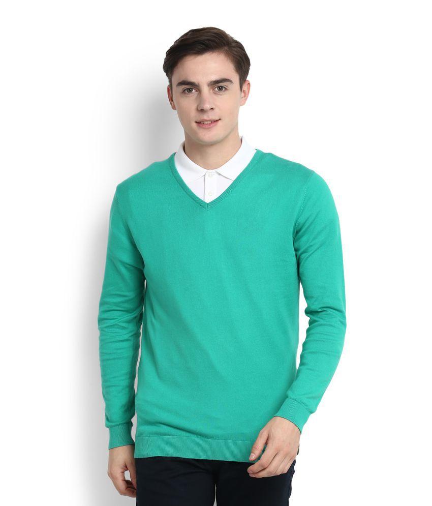 Peter England Green V-Neck T-Shirt