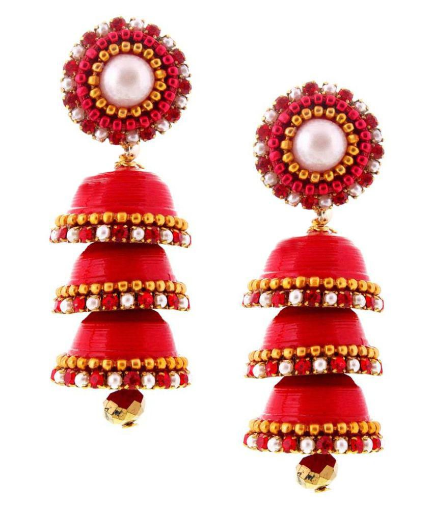 Indian Sparrows Traditional Handcrafted Paper Red Triple Jhumki