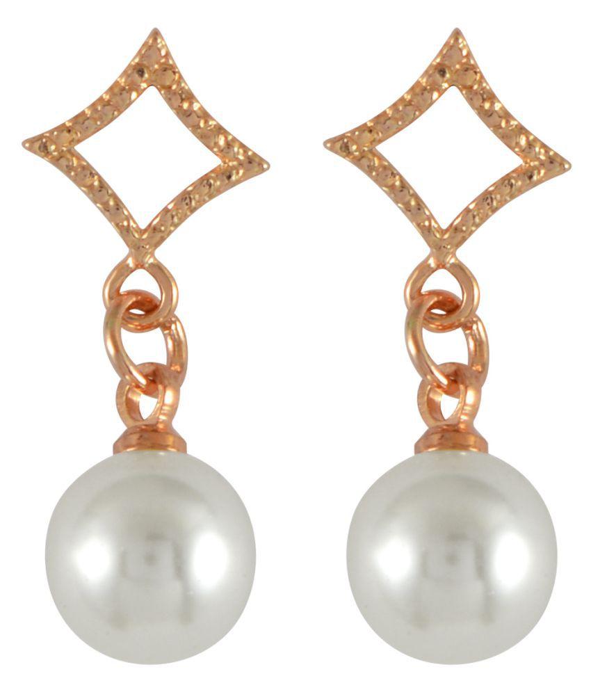 Sarah Golden Alloy Feminine Diamond Shaped Pearl Earring For Women
