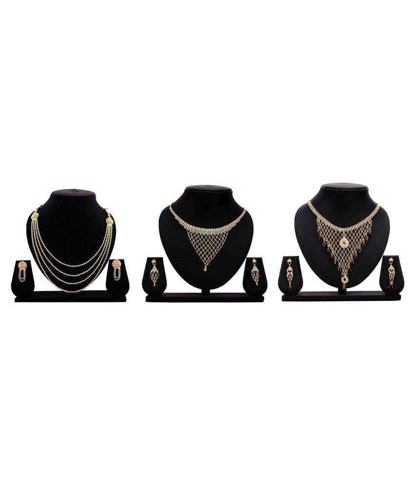 Bahucharaji Creation Presents Golden Alloy Set of 3 Piece Necklace Set