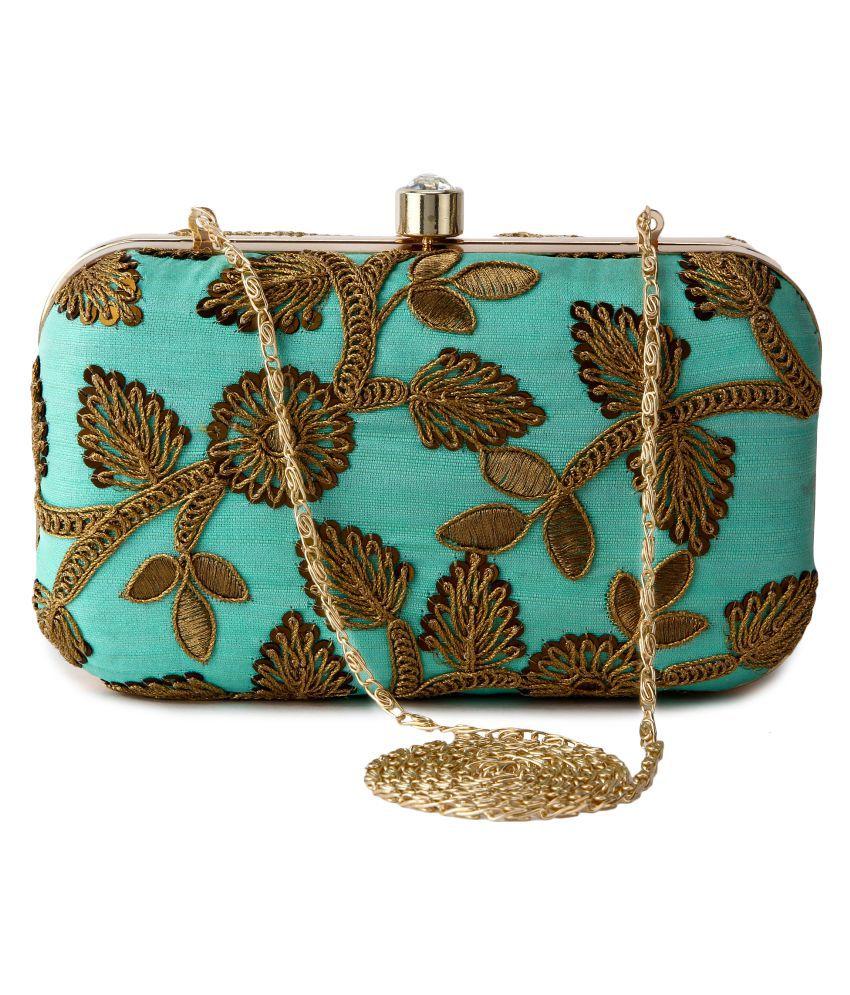 Machli Green Silk Box Clutch Buy