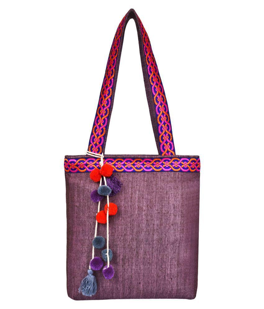Anekaant Pink Fabric Shoulder Bag