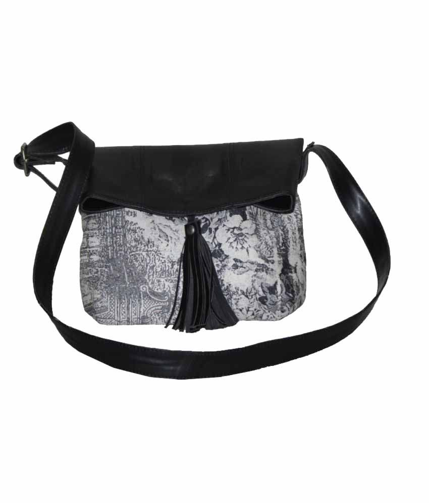 Giant Roots Black P.U. Sling Bag