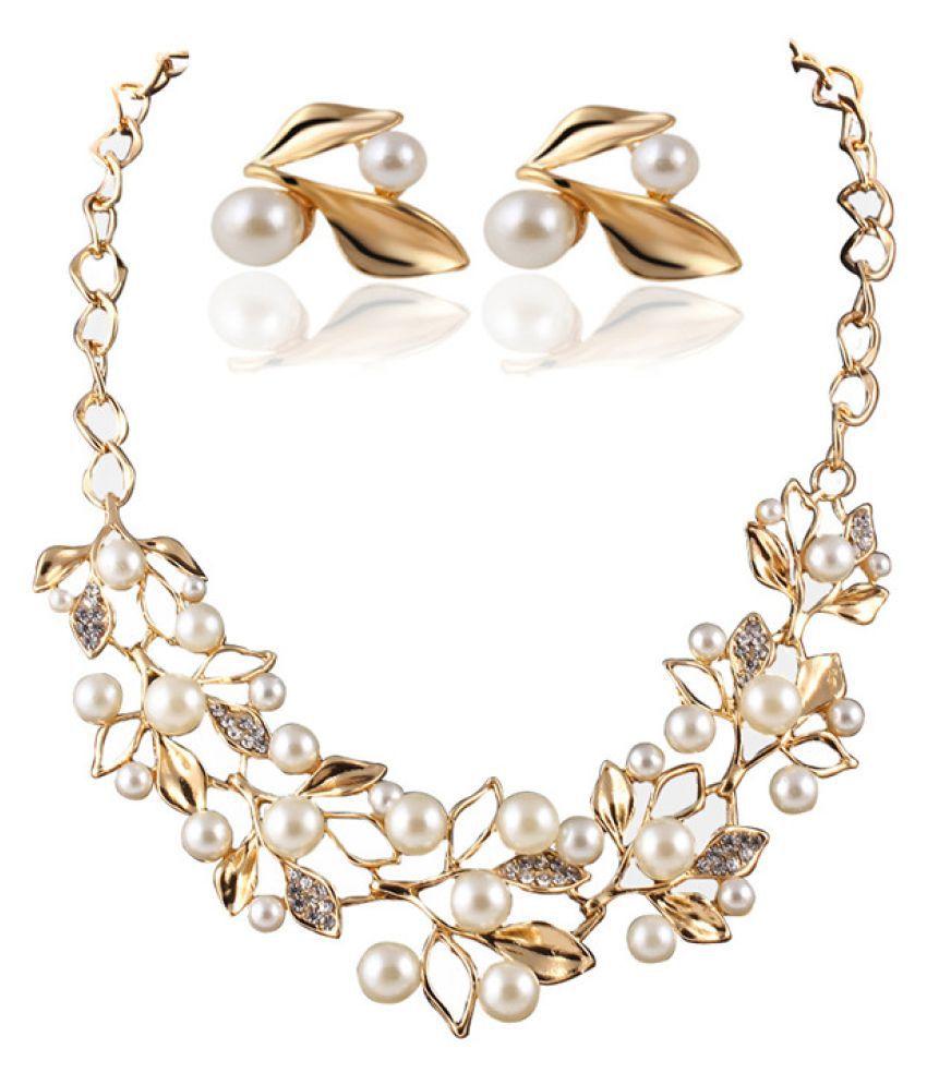 SA-VI Pearl Crystal Multicolour Necklace Set