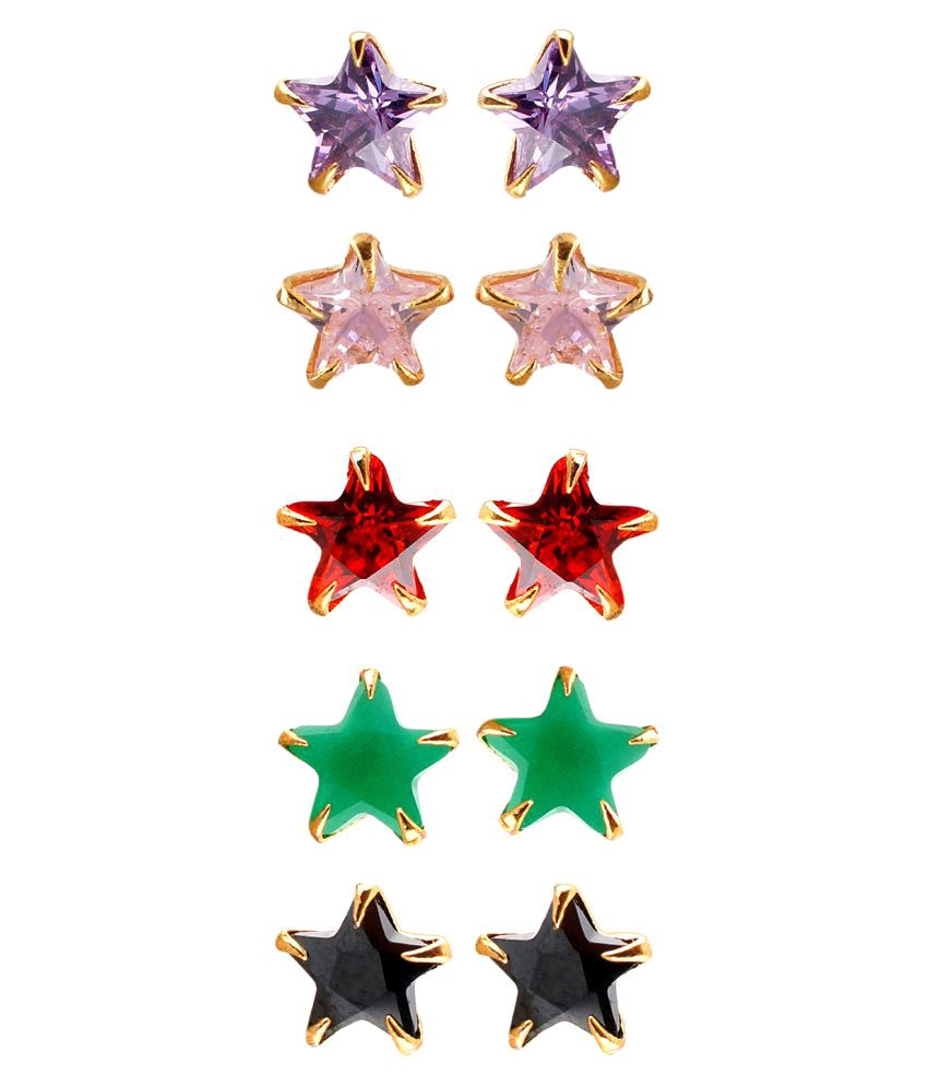 9ed9c7ba5 Vama Fashions Multicolor Gold Plated Combo Of CZ Solataire Star Shape Stud  Earrings for Women (Pack Of 5 Pair) - Buy Vama Fashions Multicolor Gold  Plated ...
