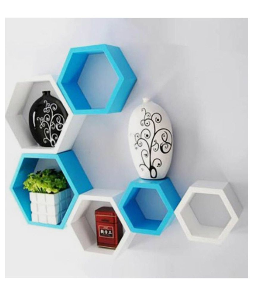 Wooden Art  amp; Toys Floating Shelf/ Wall Shelf / Storage Shelf/ Decoration Shelf Multicolour   Pack of 6