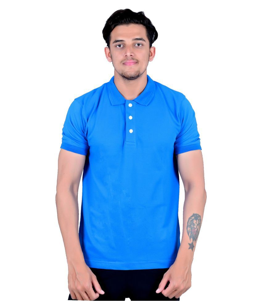 Zovil Blue Cotton Polo T-Shirt